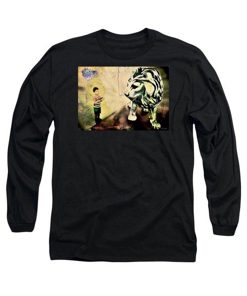 The Boy And The Lion Graffiti Creator,street-art Graffiti,street-art,graffiti Art Street,banksy Art, Long Sleeve T-Shirt