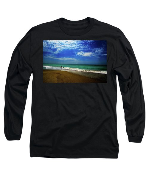 Long Sleeve T-Shirt featuring the photograph The Boy At The Beach  by John Harding