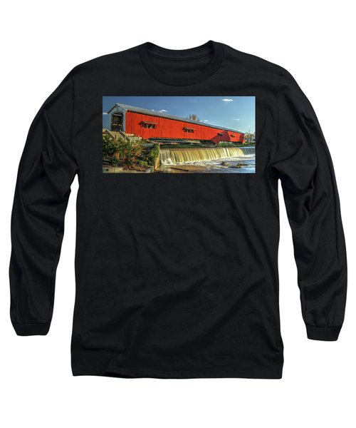 Long Sleeve T-Shirt featuring the photograph The Bridgeton Covered Bridge by Harold Rau