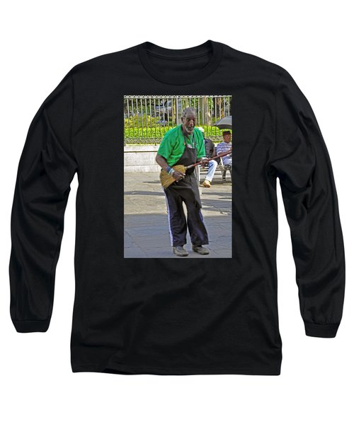 Long Sleeve T-Shirt featuring the photograph The Broom Musician by Helen Haw