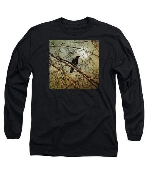 The Crow And The Moon Long Sleeve T-Shirt by Theresa Tahara