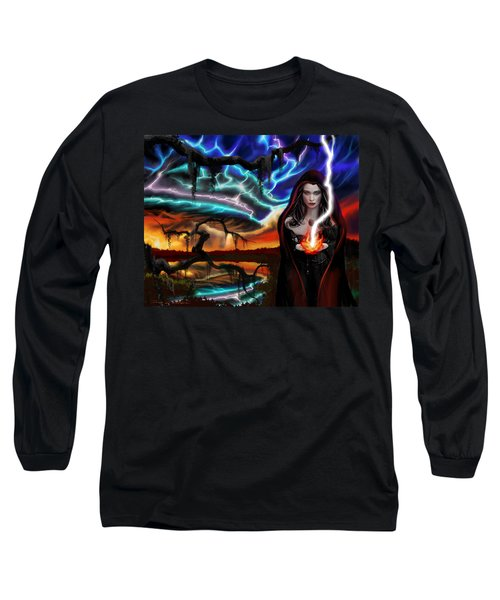 Long Sleeve T-Shirt featuring the painting The Dark Caster Calls The Storm by James Christopher Hill