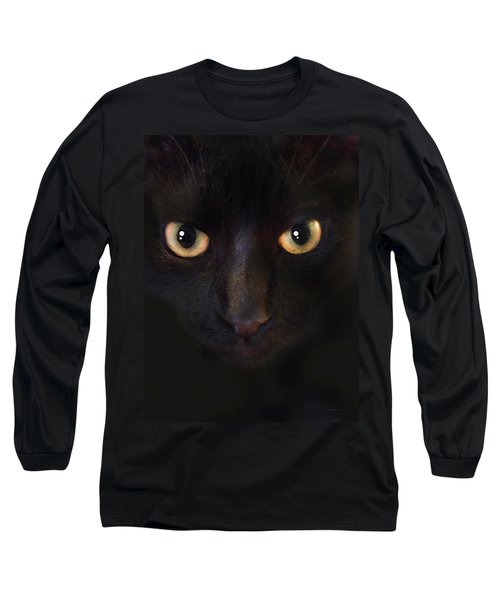 Long Sleeve T-Shirt featuring the photograph The Dark Cat by Gina Dsgn