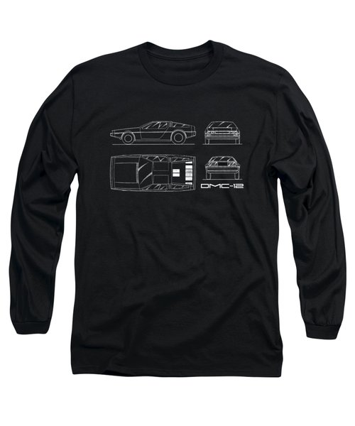 The Delorean Dmc-12 Blueprint Long Sleeve T-Shirt