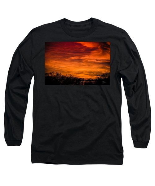The Evening Sky Of Fire Long Sleeve T-Shirt by David Collins