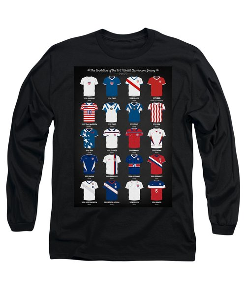 The Evolution Of The Us World Cup Soccer Jersey Long Sleeve T-Shirt by Taylan Apukovska