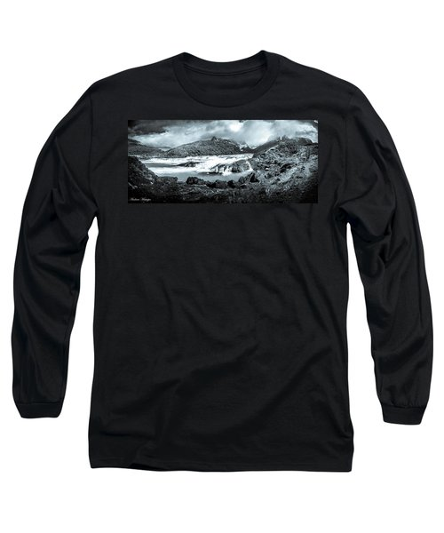Long Sleeve T-Shirt featuring the photograph The Falls In Black And White by Andrew Matwijec