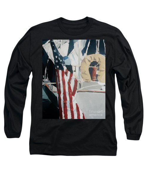 Long Sleeve T-Shirt featuring the painting The Flag by Andrew Drozdowicz