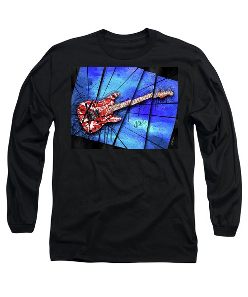 The Frankenstrat On Blue I Long Sleeve T-Shirt by Gary Bodnar