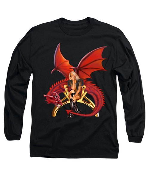 The Girl With The Red Dragon Long Sleeve T-Shirt by Glenn Holbrook