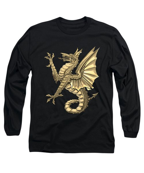 The Great Dragon Spirits - Gold Sea Dragon Over Black Canvas Long Sleeve T-Shirt