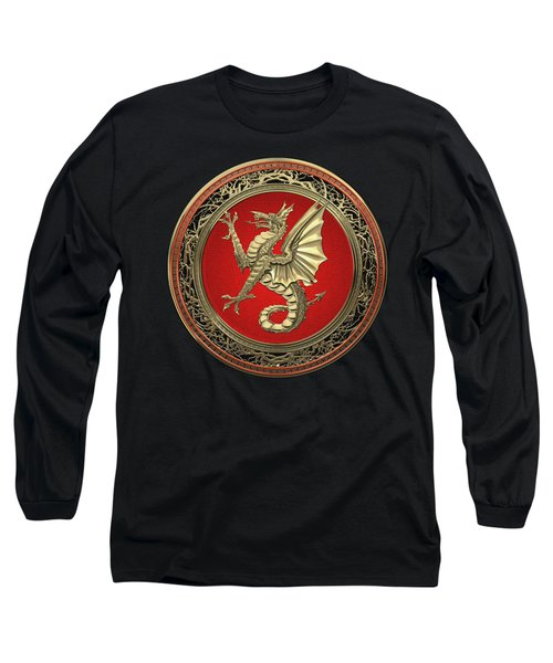 The Great Dragon Spirits - Gold Sea Dragon Over Black Velvet Long Sleeve T-Shirt