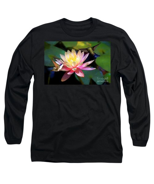 The Grutas Water Lillie With Hummingbirds Long Sleeve T-Shirt