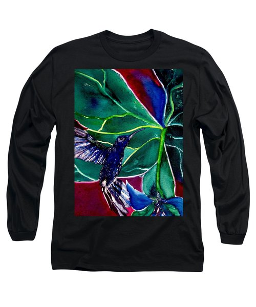 The Hummingbird And The Trillium Long Sleeve T-Shirt by Lil Taylor
