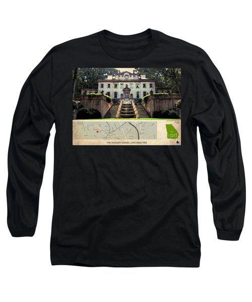 The Hunger Games Catching Fire Movie Location And Map Long Sleeve T-Shirt by Pablo Franchi