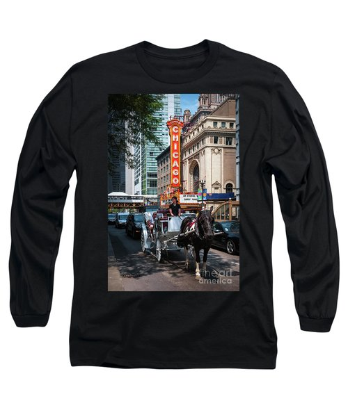 The Iconic Chicago Theater Sign And Traffic On State Street Long Sleeve T-Shirt