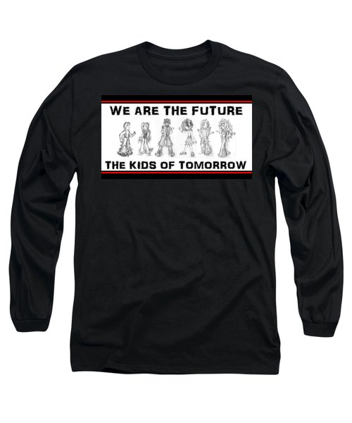 Long Sleeve T-Shirt featuring the drawing The Kids Of Tomorrow 2 by Shawn Dall