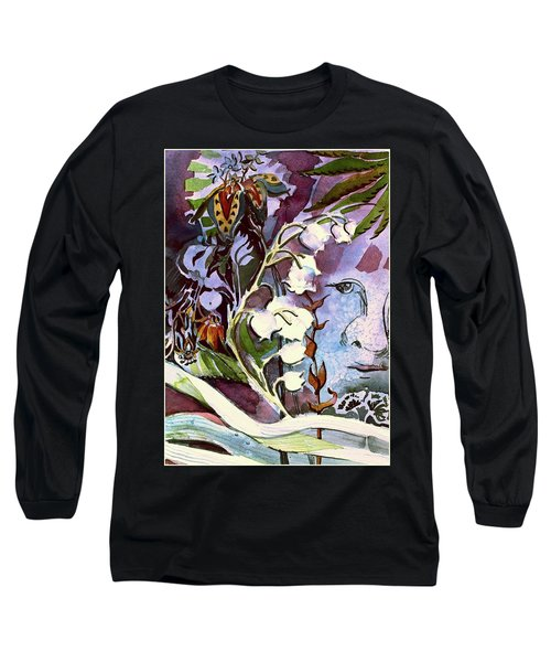 Long Sleeve T-Shirt featuring the painting The Little Gardener by Mindy Newman