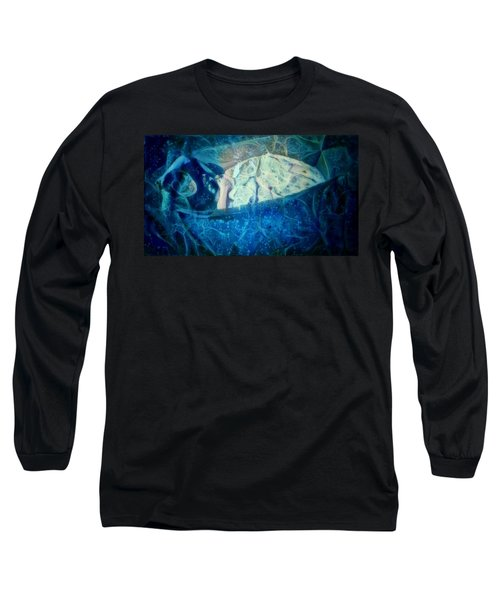 Long Sleeve T-Shirt featuring the digital art The Little Prince Floating In Box On A Sea Of Dreams With Chaotic Swirls And Waves Of Thought Hope Love And Freedom Portrait Of A Boy Sleeping In A Cardboard Box On An Ocean Of Inspiration by MendyZ