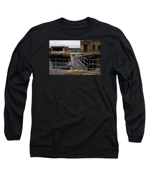 The Locks At Sault Ste Marie Michigan Long Sleeve T-Shirt by David Blank