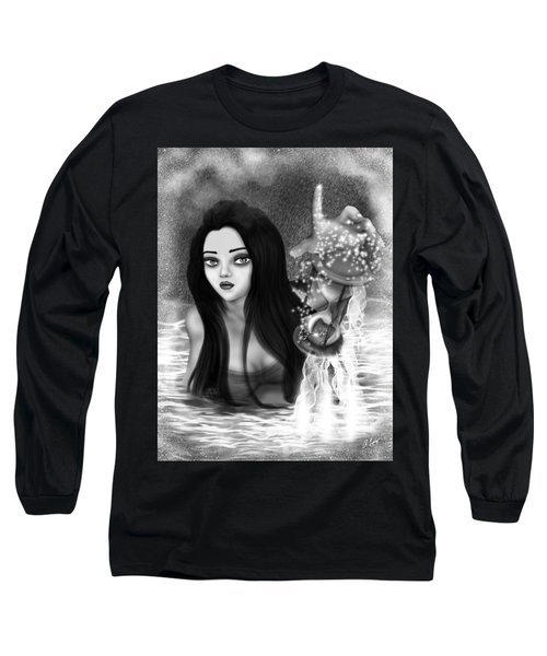 The Missing Key - Black And White Fantasy Art Long Sleeve T-Shirt
