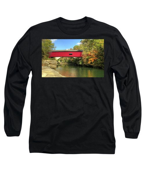 Long Sleeve T-Shirt featuring the photograph The Narrows Covered Bridge - Sideview by Harold Rau