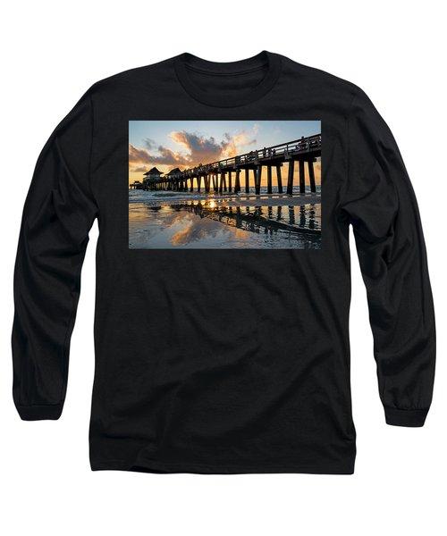 Naples Pier At Sunset Naples Florida Ripples Long Sleeve T-Shirt