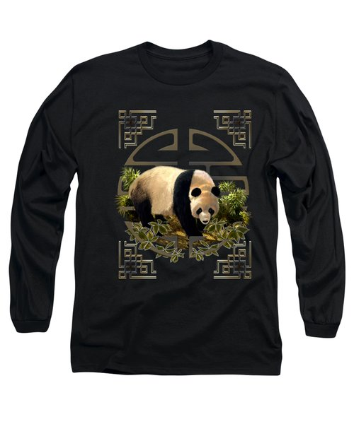 The Panda Bear And The Great Wall Of China Long Sleeve T-Shirt
