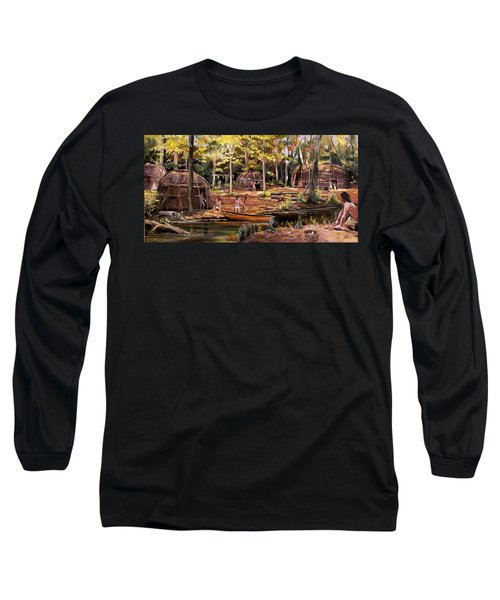 Long Sleeve T-Shirt featuring the painting The Pequots by Nancy Griswold