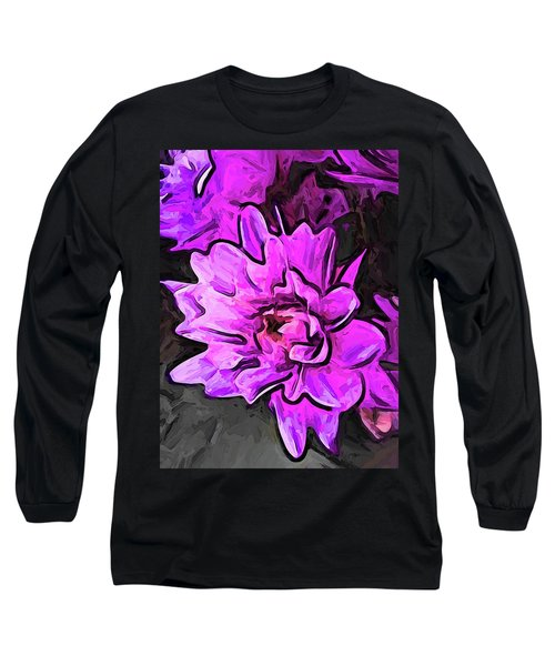The Pink And Lavender Flowers On The Grey Surface Long Sleeve T-Shirt