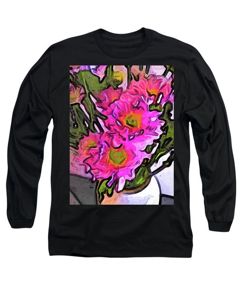 The Pink Flowers In The White Vase Long Sleeve T-Shirt