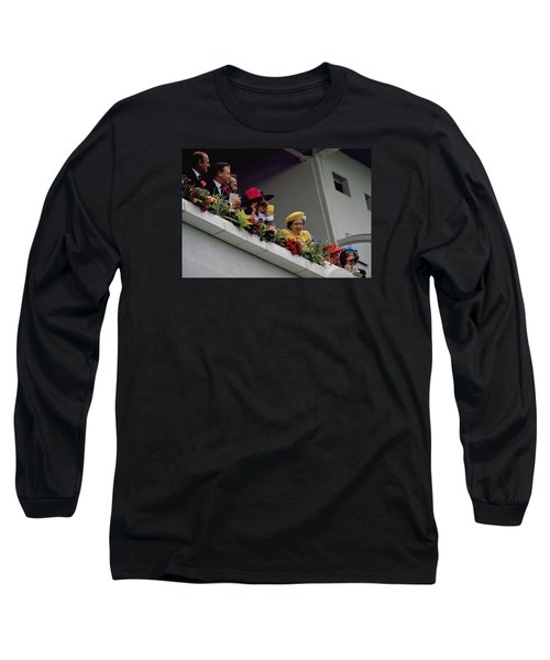 Long Sleeve T-Shirt featuring the photograph The Queen At Derby Day 1988 by Travel Pics