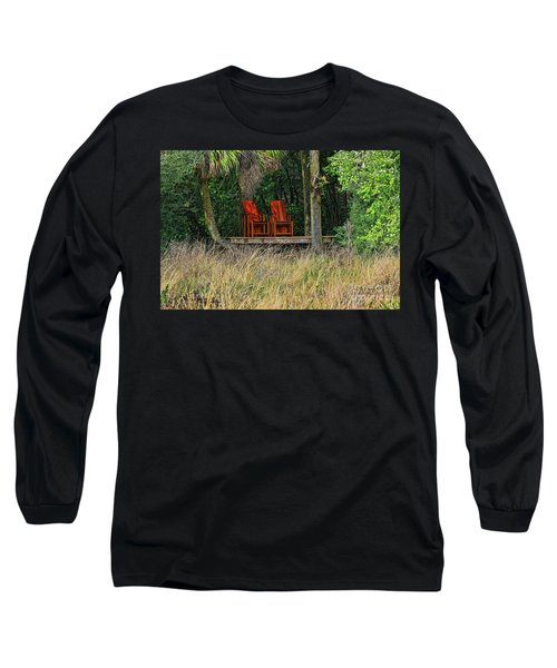 Long Sleeve T-Shirt featuring the photograph The Red Chairs by Deborah Benoit