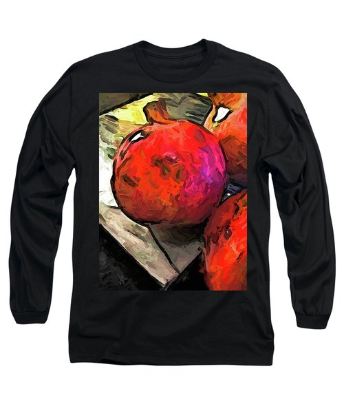 The Red Pomegranates On The Marble Chopping Board Long Sleeve T-Shirt
