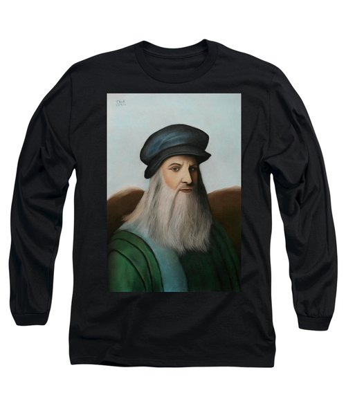 The Master Of Renaissance - Leonardo Da Vinci  Long Sleeve T-Shirt by Vishvesh Tadsare