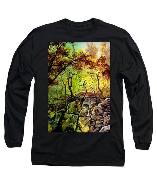 The Rocks In Starachowice Long Sleeve T-Shirt by Henryk Gorecki