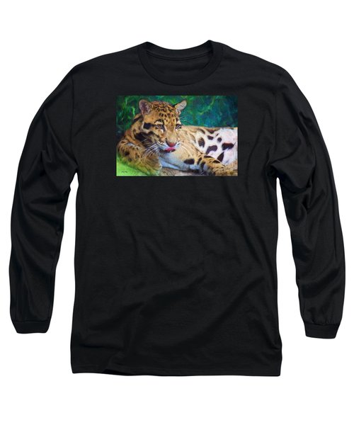 Long Sleeve T-Shirt featuring the painting The Clouded Leopard by Judy Kay