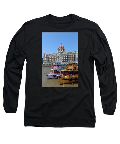 The Taj Palace Hotel And Boats, Mumbai Long Sleeve T-Shirt by Jennifer Mazzucco