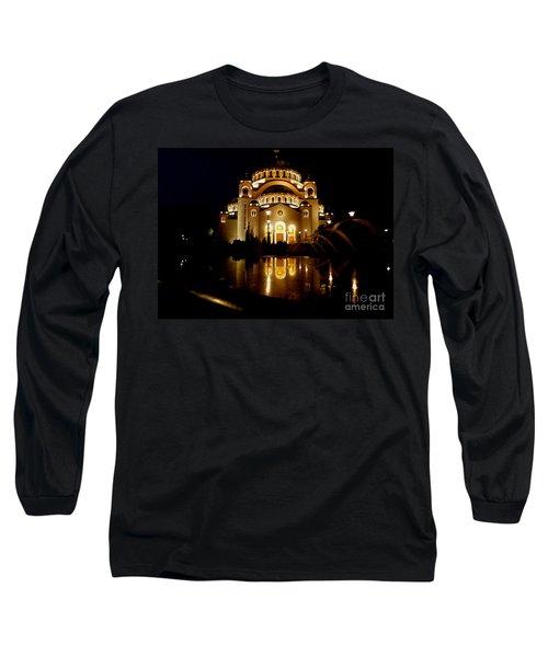 The Temple Of Saint Sava In Belgrade  Long Sleeve T-Shirt by Danica Radman