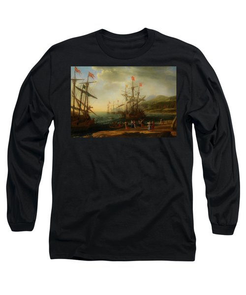 Long Sleeve T-Shirt featuring the painting The Trojan Women Setting Fire To The Fleet by Claude Lorrain
