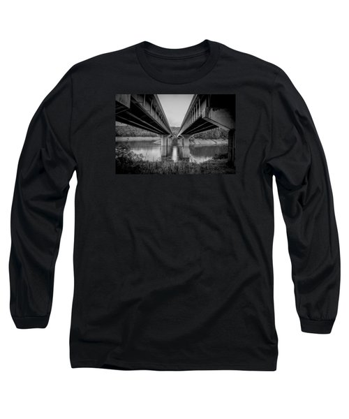 Long Sleeve T-Shirt featuring the photograph The Underside Of Two Bridges Symmetry In Black And White by Kelly Hazel