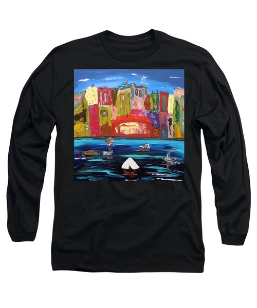 Long Sleeve T-Shirt featuring the painting The Vista Of The City by Mary Carol Williams