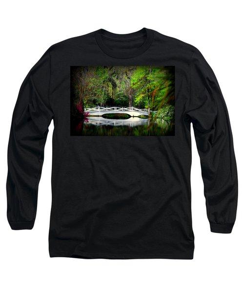 The White Bridge In Magnolia Gardens Sc Long Sleeve T-Shirt