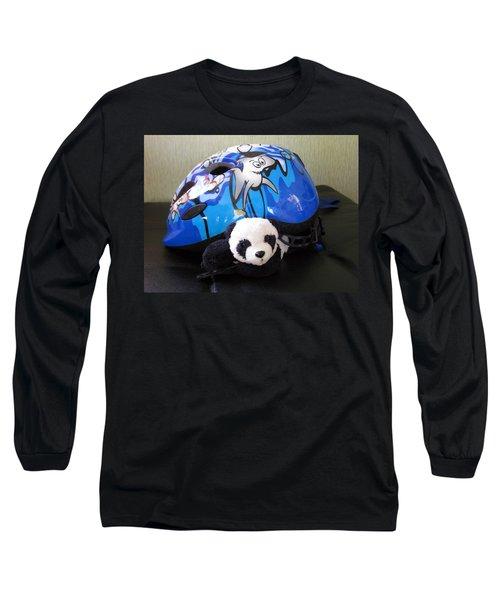 Long Sleeve T-Shirt featuring the photograph This Helmet Is So Heavy Ugh by Ausra Huntington nee Paulauskaite