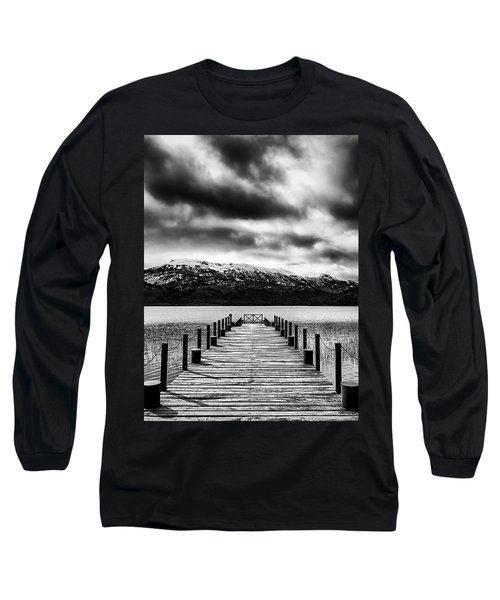 Landscape With Lake And Snowy Mountains In The Argentine Patagonia - Black And White Long Sleeve T-Shirt