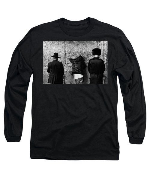 Long Sleeve T-Shirt featuring the photograph Three Different Selichot Prayers At The Kotel by Yoel Koskas
