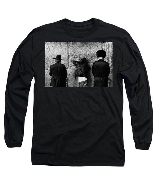 Three Different Selichot Prayers At The Kotel Long Sleeve T-Shirt by Yoel Koskas
