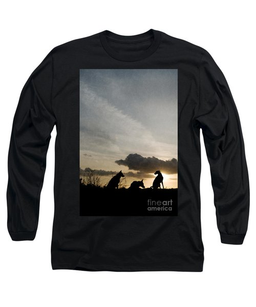 Three Dogs At Sunset Long Sleeve T-Shirt