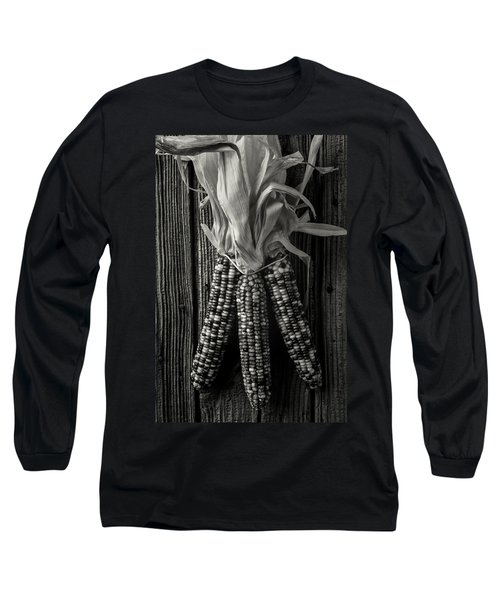 Three Indian Corn In Black And White Long Sleeve T-Shirt