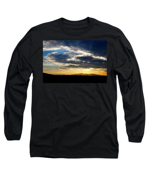 Three Peak Sunset Swirl Skyscape Long Sleeve T-Shirt